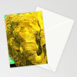 Sunshine Yellow Elephant art Stationery Cards
