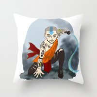airbender Throw Pillows featuring Tattooed Airbender by alulawings