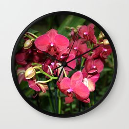 Tropical Flowers Orchids Wall Clock