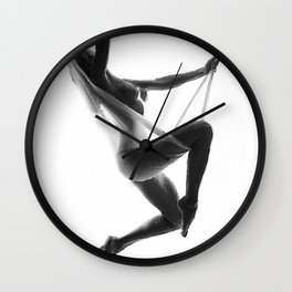 Nude Woman Suspended On Silk Black On White Wall Clock