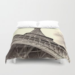 The famous Eiffel Tower in Paris, France in sepia. Vintage photography Duvet Cover