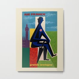 Air France. Vintage travel advertising poster to promote travel to Great Britain. Guy Georget 1963. Metal Print