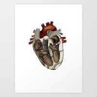 anatomical heart Art Prints featuring Anatomical Heart  by Whoosh