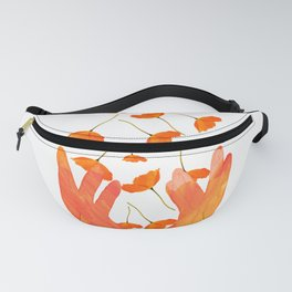 Wonderful Poppy Flowers Orange Coral Color White Background #decor #sociey6 #buyart Fanny Pack
