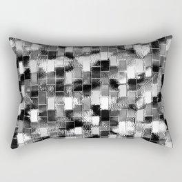 BRICK WALL SMUDGED (Black, White & Grays) Rectangular Pillow