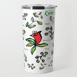 Enlarge Red Flower with Words Travel Mug