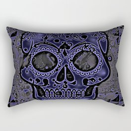 Skull, blue Rectangular Pillow