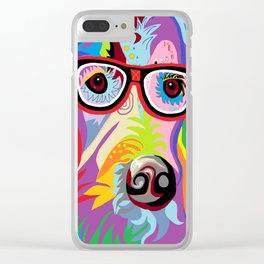 Smart Retriever Hipster with Glasses Clear iPhone Case