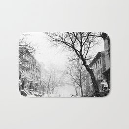 New York City At Snow Time Black and White Bath Mat