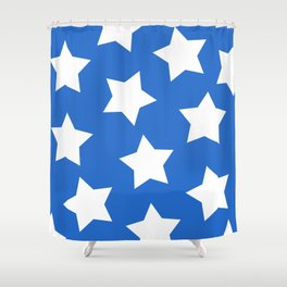 Cheerful Blue Star Print Shower Curtain