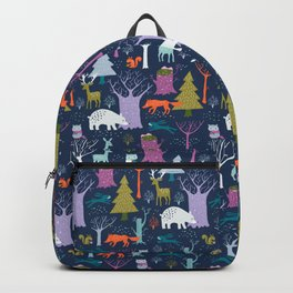 winter woodland animals Backpack