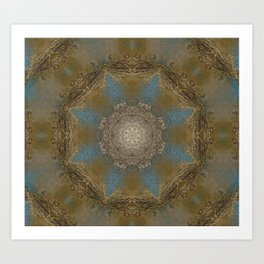 Gold Liquid Turquoise Star Elegance Art Print