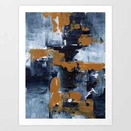 Ejaaz Haniff Abstract Acrylic Palette Knife Painting Paynes Grey White Yellow Ochre: 'Gold Rush' Art Print