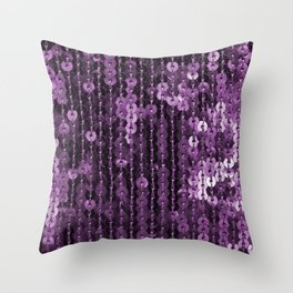 Lilac shiny fabric with sequins for festive backgrounds Throw Pillow