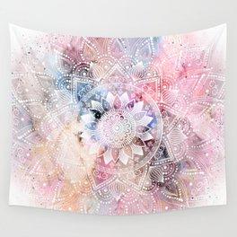 Whimsical white watercolor mandala design Wall Tapestry