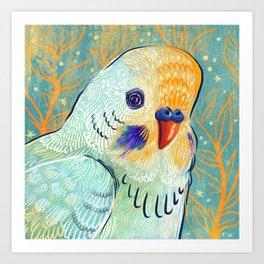 Minty Parakeet Art Print