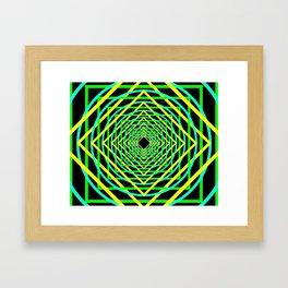 Diamonds in the Rounds Blacklight Neons Yellow Greens Framed Art Print