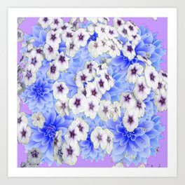 WHITE   FLORALS WITH BLUE FLOWERS Art Print