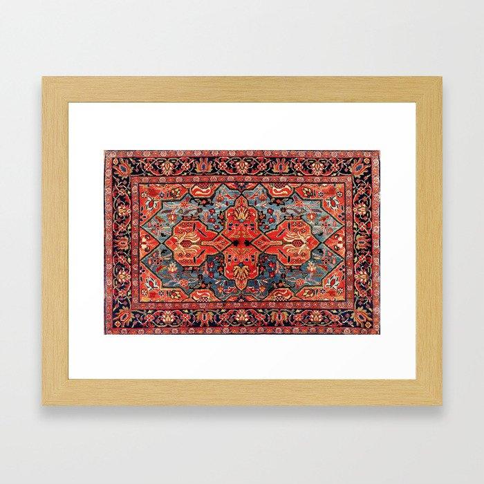 Kashan Poshti Central Persian Rug Print Framed Art Print