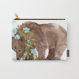 Bear with flower boa Carry-All Pouch