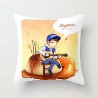 exo Throw Pillows featuring EXO Chanyeol on caramel pudding by Rei Lydia