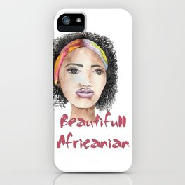 Woman from Africa watercolor portrait iPhone Case