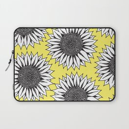 Yellow Sunflower in Black and White Hand Drawing Laptop Sleeve