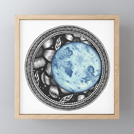 Blue Moon Flower Mandala Framed Mini Art Print