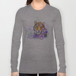Tiger and flowers iris Long Sleeve T-shirt
