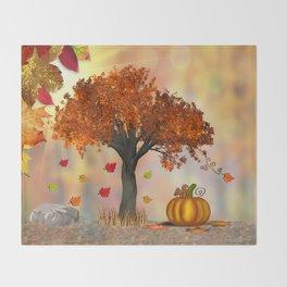 Autumn Squirrel Scene Throw Blanket