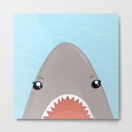 Cute Kawaii Shark Metal Print