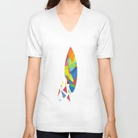 surfboard V-neck T-shirts featuring Surfboard abstract triangle by frap231
