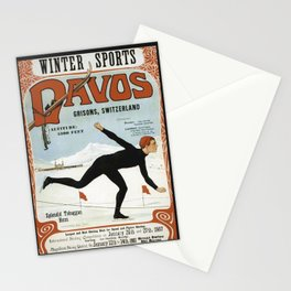 Swiss Winter Skating Sports Stationery Cards