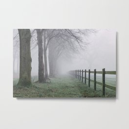 Fence beside an avenue of trees in fog. Norfolk, UK. Metal Print