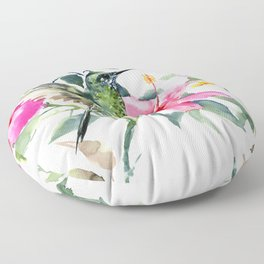 Hibiscus and Hummingbird, Hawaiian Aloha, birds and flowers design Floor Pillow