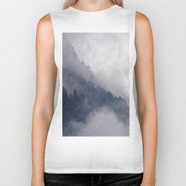 Misty Pine Mountain Forest Landscape Steep Cliffs Cloudy Modern Minimal Photo Biker Tank