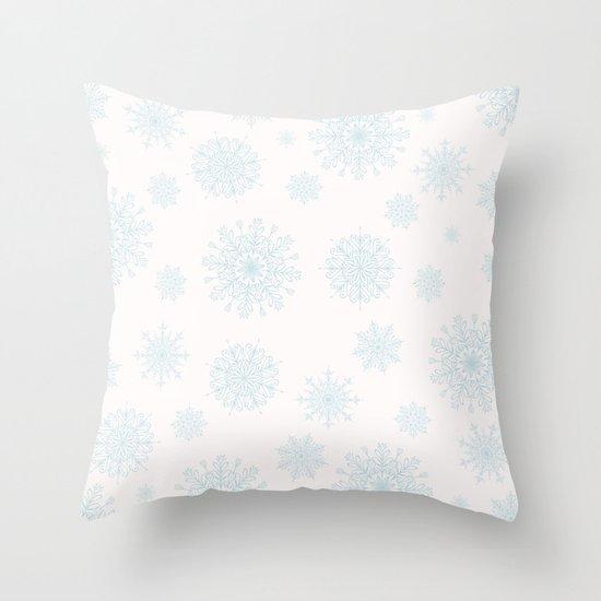 Assorted Light Blue Snowflakes On White Background Throw Pillow