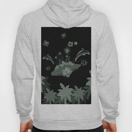 Surfboard with dolphin, flowers, palm and turtle Hoody