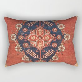 Southwest Tuscan Shapes II // 18th Century Aged Dark Blue Redish Yellow Colorful Ornate Rug Pattern Rectangular Pillow