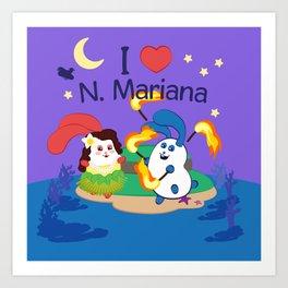 Ernest & Coraline   I love Northern Mariana Islands Art Print