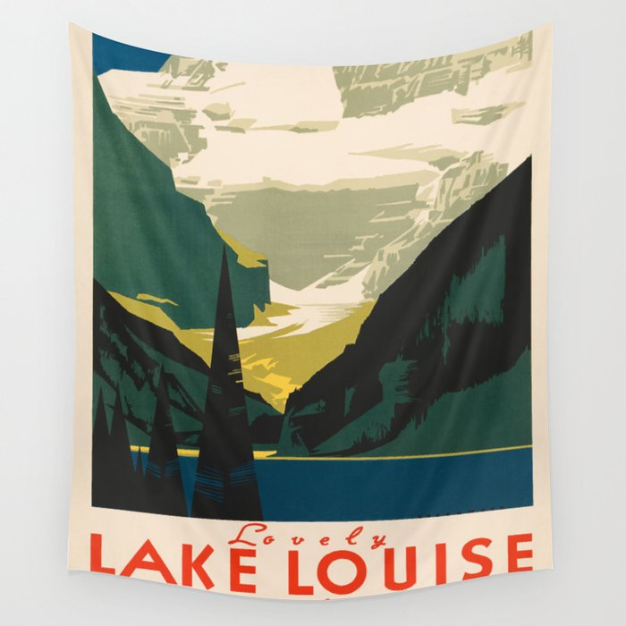 Lovely Lake Louise vintage travel ad Wall Tapestry