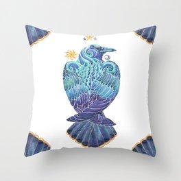 Raven Totem Throw Pillow