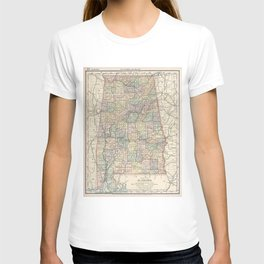 Vintage Map of Alabama (1891) T-shirt