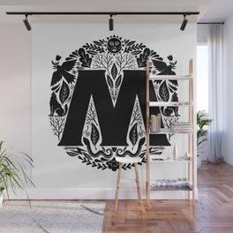 Letter M monogram wildwood Wall Mural