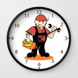 Cartoon handyman with tools Wall Clock