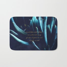 SUCCULENTS in Dark Blue Bath Mat