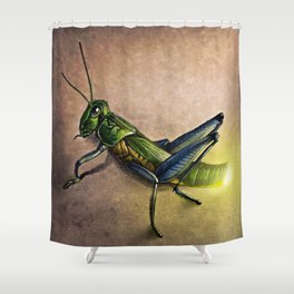 The Firefly and the Grasshopper Shower Curtain