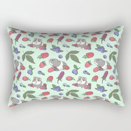 Guinea Pig Pattern in Mint Green Background with mix berries Rectangular Pillow