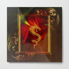 Wonderful chinese dragon, gold colors Metal Print