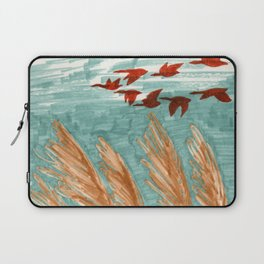 Geese Flying over Pampas Grass Laptop Sleeve